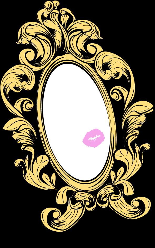 Miroire du comparateur de maquillage avec un baiser au rouge à  lèvre