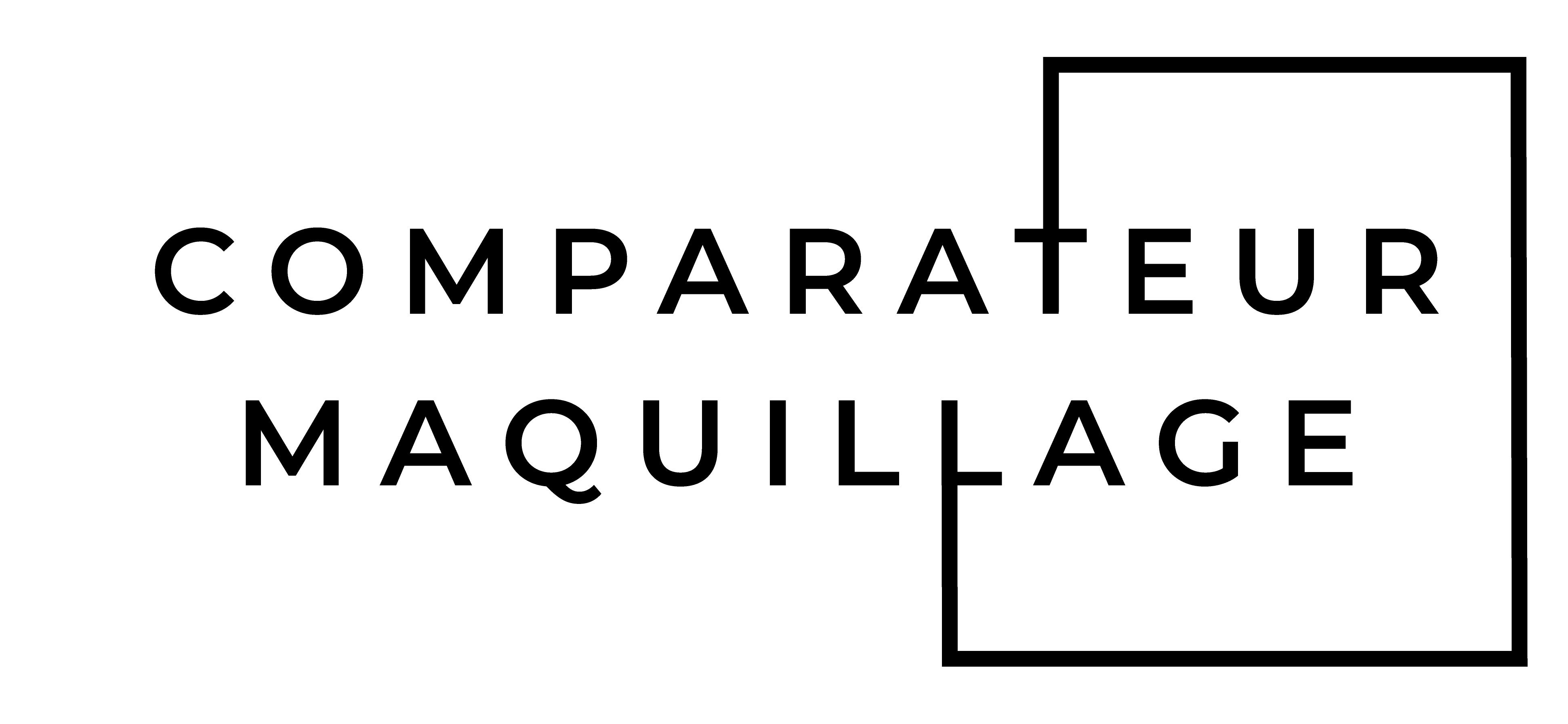 Logo de site internet comparateur maquillage, écrit en toute lettre avec une carré pour isolé eur et age